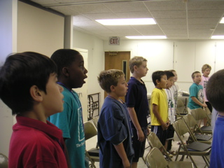 Boys Rehearsing at Singing Camp 2006